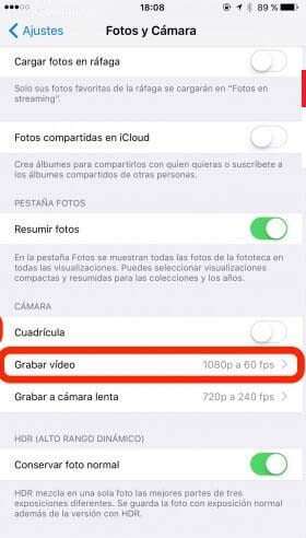 Cambiar resolucion de video iphone 2